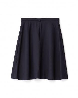 ネイビー  ストレッチラメフレアスカート見る
