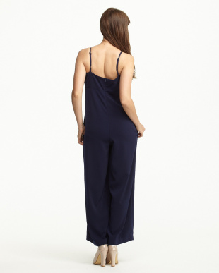 NAVY  SATIN DOUBLE CROSS ALL-IN-ONE見る