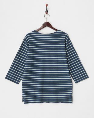 BLUE  カットデニムボーダーTシャツ(7分袖)見る