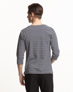 NAVY  USAコットンパネルボーダーTシャツ(7分袖)見る