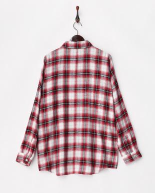 RED  オンブレチェックビッグシャツ見る