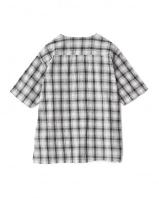 BLACK  オンブレチェックプルオーバーシャツ(5分袖)見る