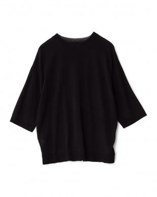 BLACK クルーネックビッグセーター(5分袖)見る