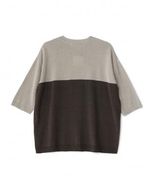 L.GRAY  コットンリネンブロックドセーター(5分袖)見る