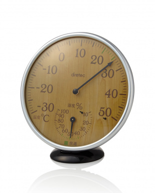 ナチュラルウッド  アナログ温湿度計見る