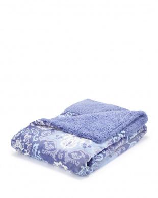 ブルー  毛布仕立てのあたたか掛けふとんカバー シングルロング見る
