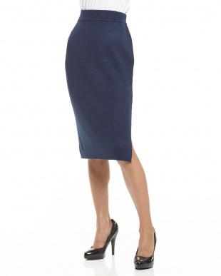 ネイビー ミラノリブスリットタイトスカート見る