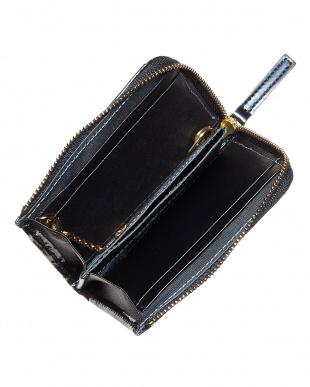 ネイビー  パスケース付きL字型ミニ財布│WOMEN見る