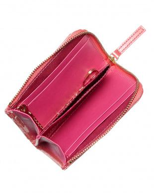 ピンク  パスケース付きL字型ミニ財布│WOMEN見る