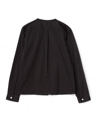 BLACK 製品染めノーカラーシャツJK WH見る