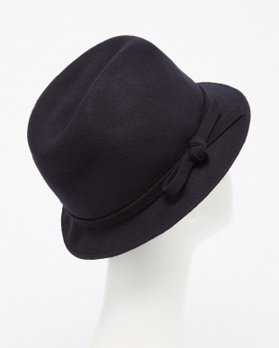 NAVY  FELT HAT WITH FELT RIBBON DOORS見る