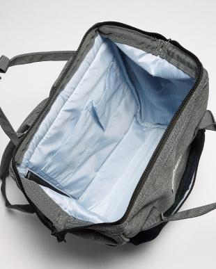 ブルー×ホワイト  がま口Harris Tweed backpack見る