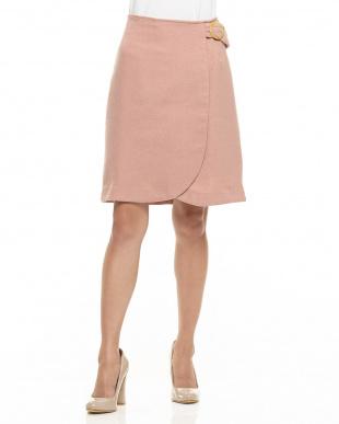 ピンク  サイドバックルIラインスカート見る