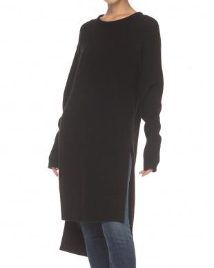 ブラック サイドスリット ニットドレス見る