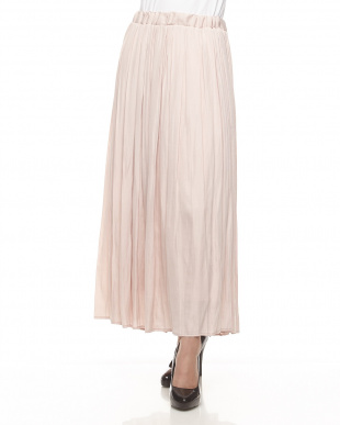 ライトピンク  サテンギャザープリーツスカート見る