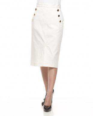 ホワイト  マリンボタンタイトスカート見る