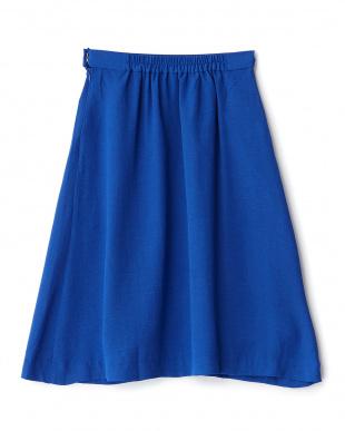 ブルー  ラップ風フレアースカート見る