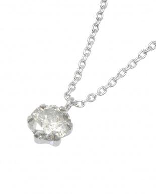 Pt+SV 天然ダイヤモンド 0.3ct 6本爪 一粒ネックレス見る
