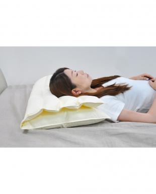 アイボリー 折り重ね枕ホワイト枕カバー付見る