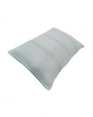 ブルー PCM+キシリトール加工 夏ひんやり涼しい蓄冷・冷感安眠枕 43×63cm 低め見る