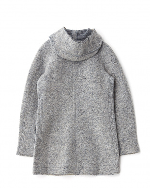 MEDIUM MELANGE KNITTED BOUCLE フーデッドコート見る