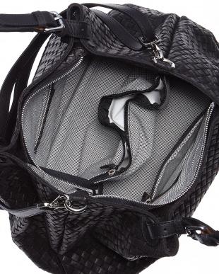 ブラック  イタリアンレザー編み込みトートバッグ見る