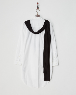 ブラック×ホワイト ストールドッキングシャツDRESS見る