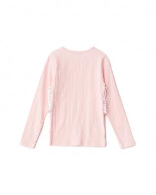 ピンク  Tシャツ+レースキャミセット風トップス見る