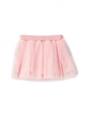 ピンク  刺繍入りチュールスカート見る