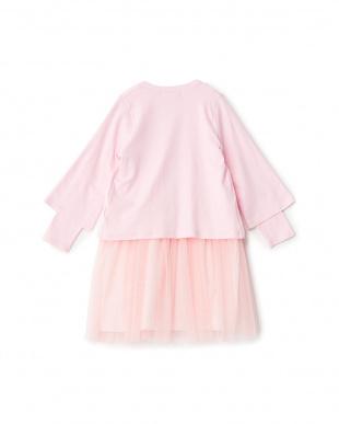 ピンク   ラインストーン装飾 カーディガン+ワンピースセット見る