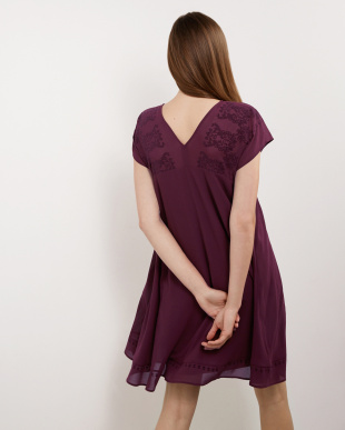 PURPLE BIFLOCK DRESS見る
