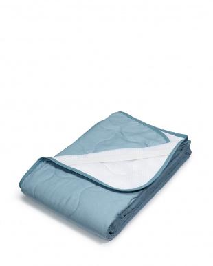 ブルー シルクわた入り敷きパッド 140×205cm見る