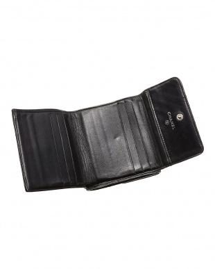 ブラック VステッチWホック二つ折り財布見る