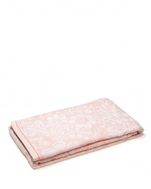 ピンク  フラワー柄 バスタオル+フェイスタオル見る