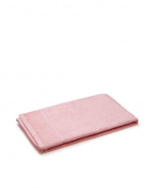 ピンク  ヘリンボーン柄 バスタオル+フェイスタオル見る
