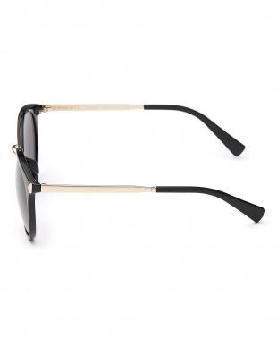 ブラック×ゴールドカラー 切り替えテンプルボストンタイプサングラス見る