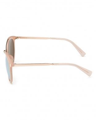 ピンク×ゴールドカラー 切り替えテンプルボストンタイプサングラス見る