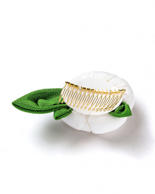 ホワイト系  椿 髪飾り見る