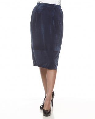ブルー ピケベロアタイトスカート見る