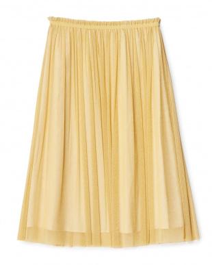 ゴールド  シャイニーカラーギャザーロングスカート見る