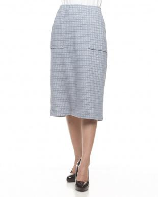 ライトブルー  ウインドウペンチェックタイトスカート見る