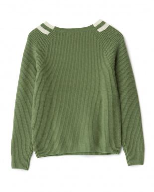 グリーン  ライン入り アゼ編みカシミヤセーター見る