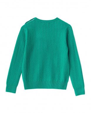 グリーン 肩ボタン ケーブルカシミヤニットセーター見る