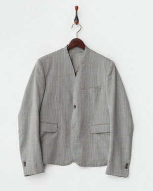 WHITE×BROWN×BLACK(HERRINGBONE) ノーカラー2釦シングルジャケット見る