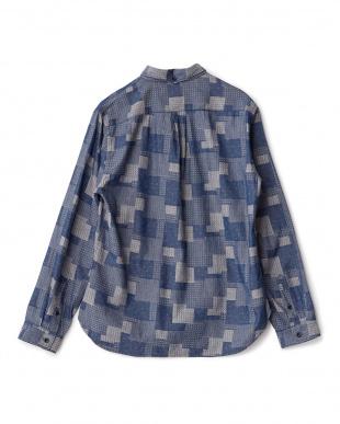 01(ネイビー系)  パッチワークボタンダウンシャツ見る