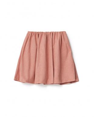 ライトピンク  フェイクスエード ギャザースカート見る