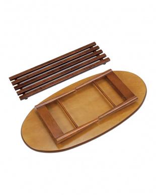 ブラウン オーバル 折れ脚テーブル 100×50×33.5cm見る