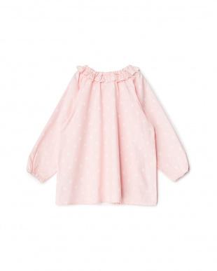 ピンク スター柄フリル衿ワンピース見る