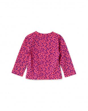 ピンク  カラフルポケット付きレオパード長袖シャツ見る