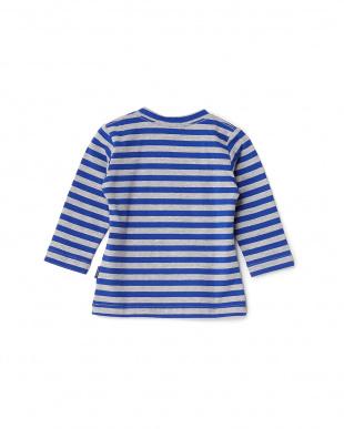ブルー×グレー 猫ボーダー長袖シャツ見る